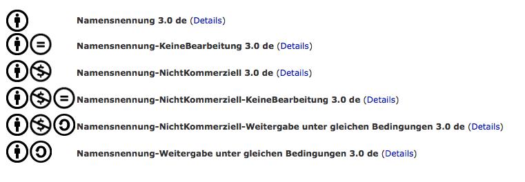CC-Lizenzen auf der entsprechenden Seite