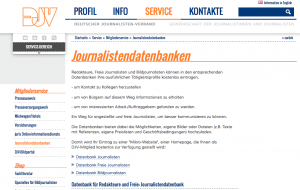 Screenshot der Datenbank des DJV