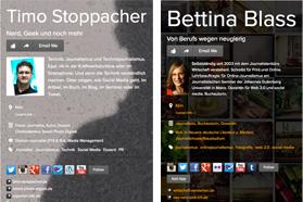 Screenshots about.me von Bettina Blaß und Timo Stoppacher