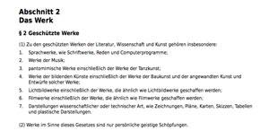 Screenshot Urheberrechtsgesetz. Der Link dorthin steht im Text.
