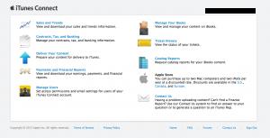 Screenshot: iTunesConnect