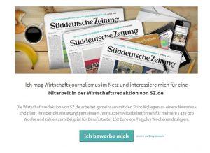 Die Wirtschaftsredaktion von SZ.de sucht Mitarbeiter. Quelle: https://sz2.typeform.com/to/WorJik