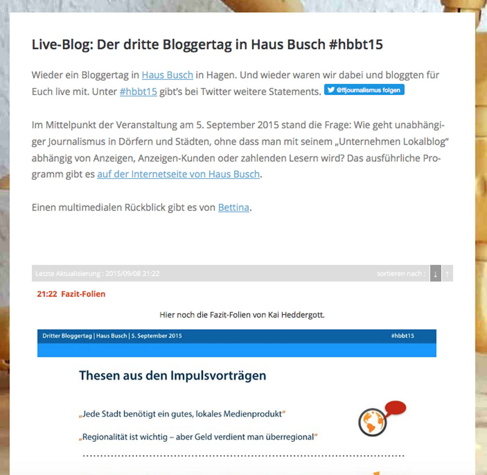 Live-Blog bei Fit für Journalismus