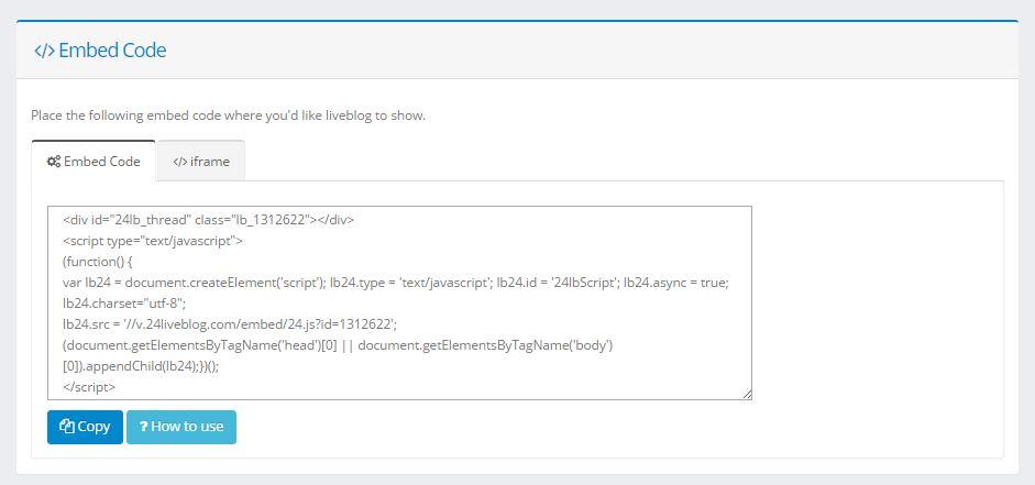 Der HTML-Code kann auf der eigenen Webseite oder im Blog eingefügt werden.