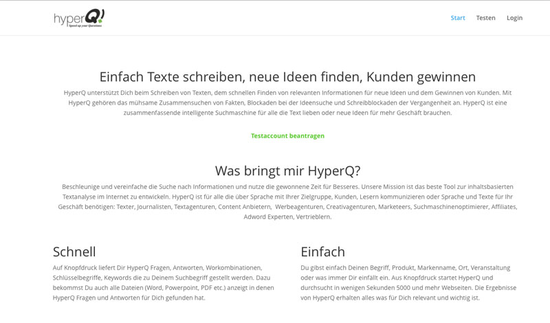 Screenshot HyperQ Homepage