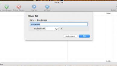 Screenshot: Stechuhr