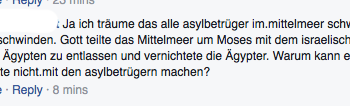 Facebook Post zum Thema Flüchtlinge