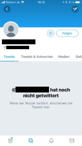 Screenshot: Profil Twitter, noch leer