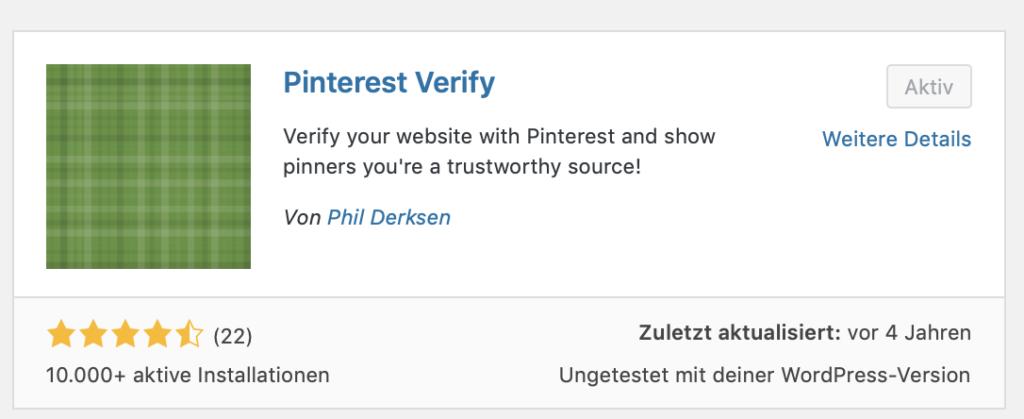 Plugin: Pinterest verify