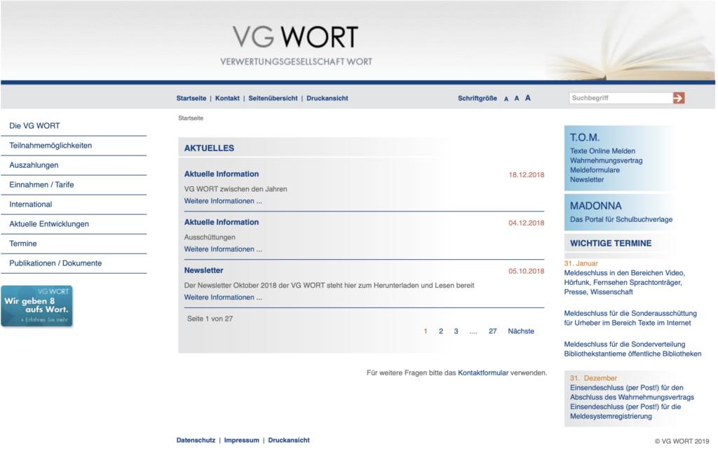 Portal der VG Wort