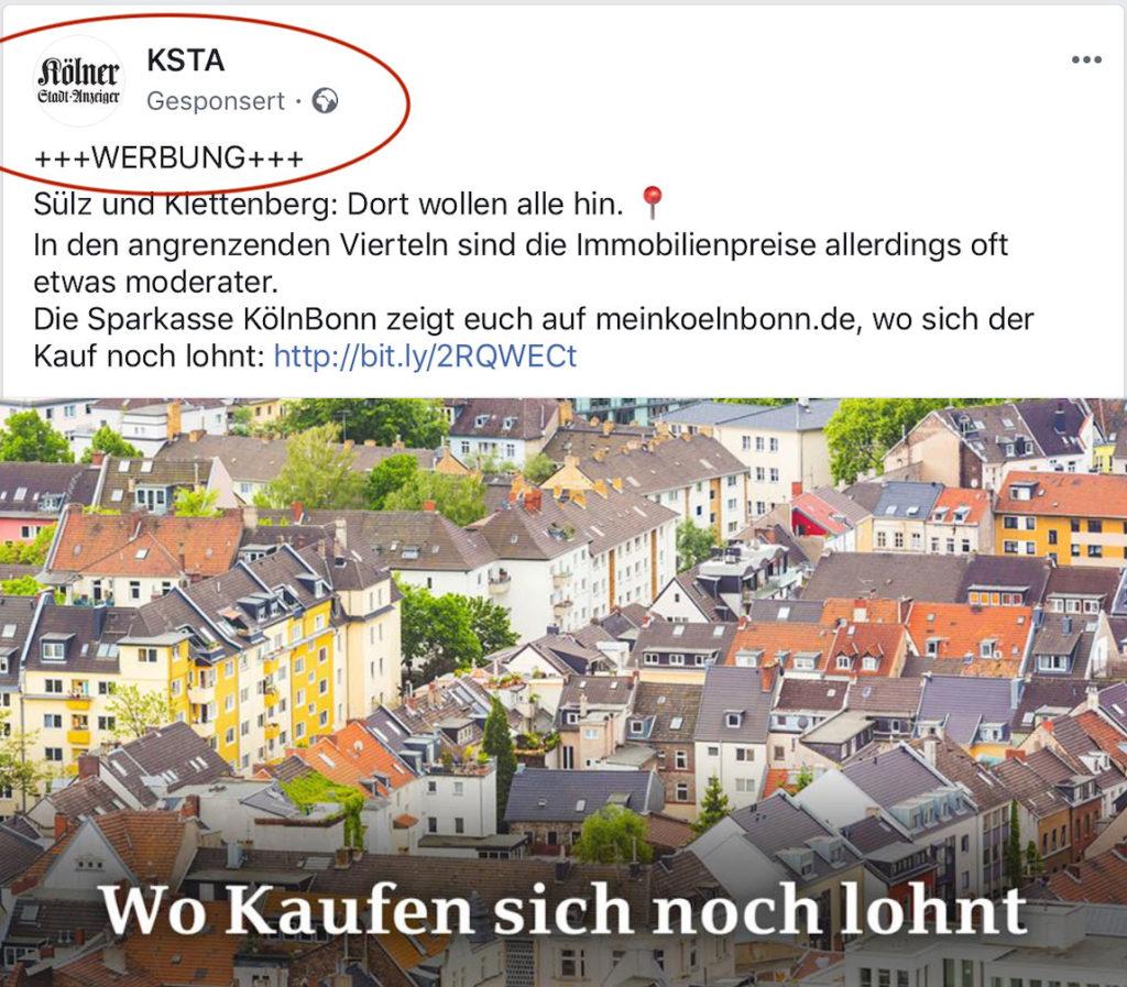 Screenshot Facebook: Kölner Stadtanzeiger kennzeichnet bezahlten Artikel als das, was es ist: Werbung