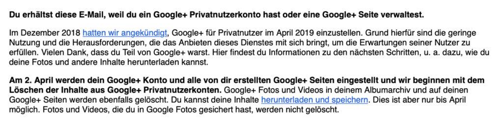 Google+ schließt