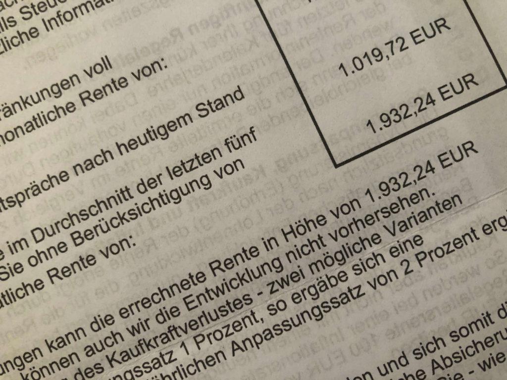 1932 Euro mögliche Rente - das wäre schön!